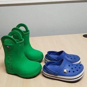 Bundle Crocs rain boots 7 and shoes 8-9